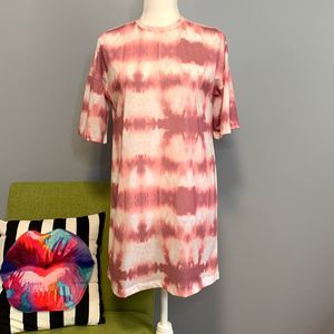 Nasty Gal Rose Tie Dye Oversized T-shirt Dress NEW